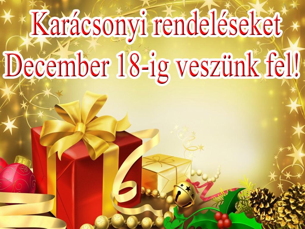 Karácsonyi Rendeléseket December 18-ig Veszünk Fel!